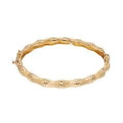 Yellow Gold Bamboo Hinged Bangle Bracelet