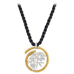 Yellow Gold Bamboo Tree Motif on a Silk Cord Pendant