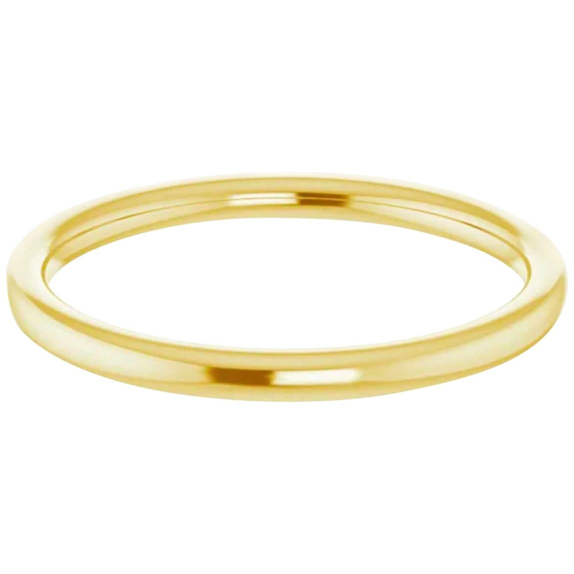 Yellow Gold Band,-2 mm 14k Gold Half Round Wedding Band High Polished