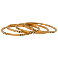 Yellow Gold Bangle Bracelet Set with Enamel Accents