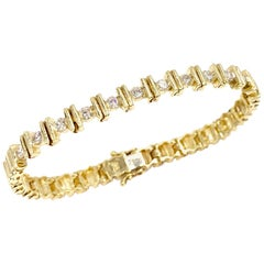 Yellow Gold Bar Set Diamond Bracelet