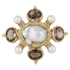 Yellow Gold Baroque Pearl Smokey Quartz Pin or Pendant