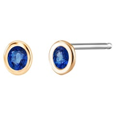 Yellow Gold Bezel Set Blue Sapphires Stud Earrings