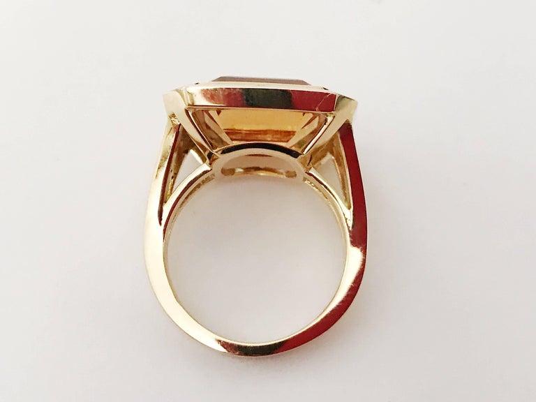 Modern Yellow Gold Bezel Set Citrine with Surrounding Tsavorite Ring For Sale