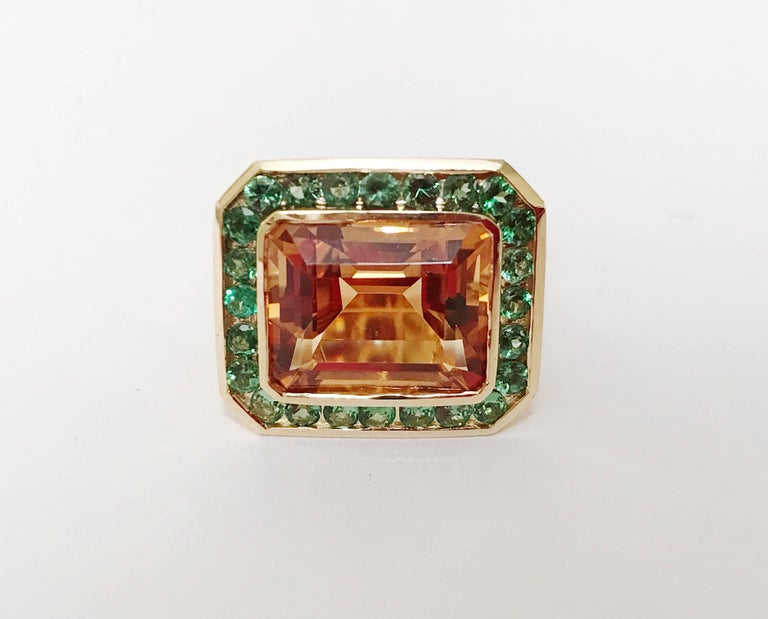Emerald Cut Yellow Gold Bezel Set Citrine with Surrounding Tsavorite Ring For Sale