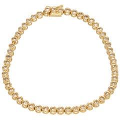 Yellow Gold Bezel Set Diamond Tennis Bracelet 17cm