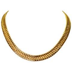 Yellow Gold Bismark Chain Statement Necklace