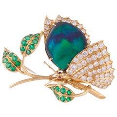 Yellow Gold Black Opal Butterfly Pin