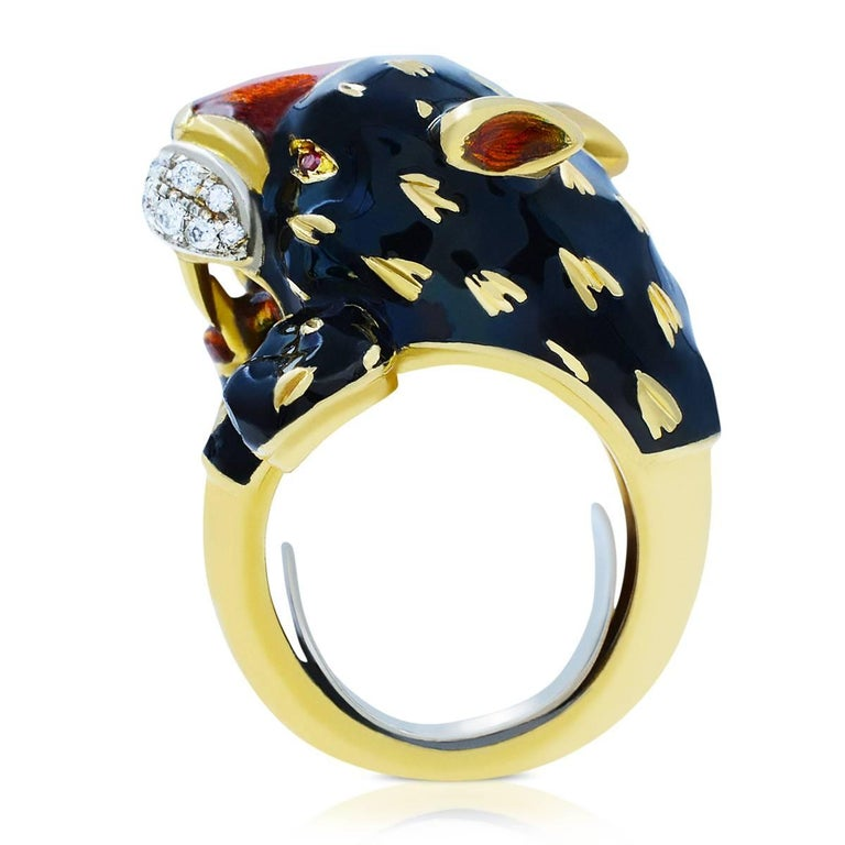 Italian jeweler.  Fine fine ring.  Super cool statement.  Black panther tiger lion style.  Quality Enamel. Yellow Gold. White Diamonds. Vintage Retro Inspired. Collectors ring.   Size 5. Can be sized.