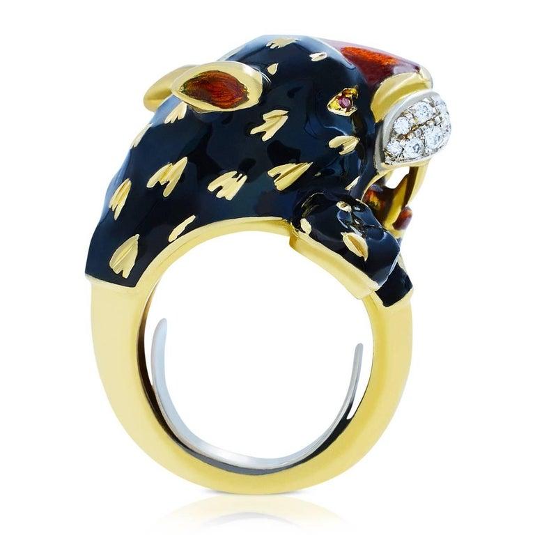 Modern Yellow Gold Black Panther Diamond Cool Fashion Animal 18 Karat Ring For Sale