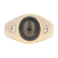 Yellow Gold Black Star Sapphire & Diamond Ring, 14k Oval Cabochon 6.20ctw Men's