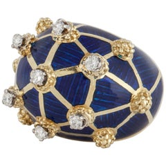 Yellow Gold Blue Enamel Diamond Dome Ring