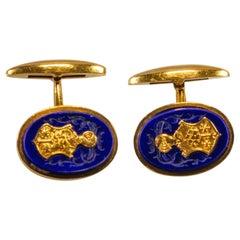 Yellow Gold 18k Blue Lapis Lazzuli Engraved Cufflinks