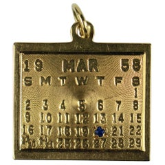 Yellow Gold Blue Sapphire 20th March 1958 Calendar Date Charm Pendant