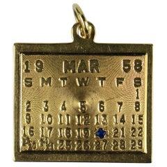 Yellow Gold Blue Sapphire 20th March 1958 Calendar Date Charm Pendant