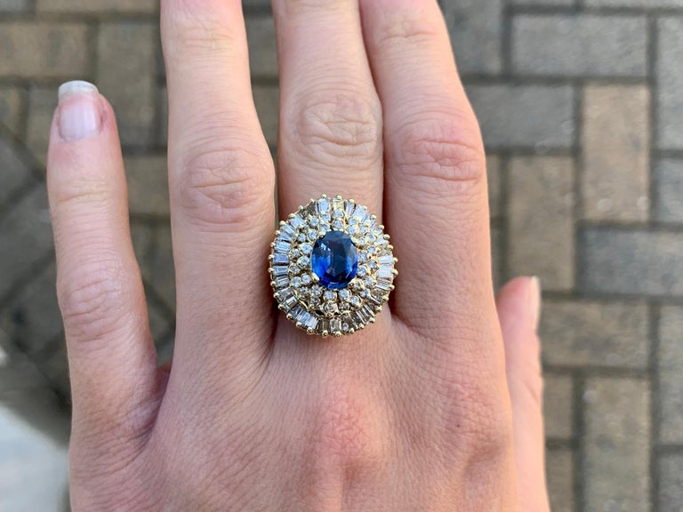 Yellow Gold Blue Sapphire and Diamond Cocktail Ring For Sale 5