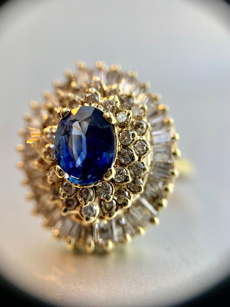 Yellow Gold Blue Sapphire and Diamond Cocktail Ring For Sale 7