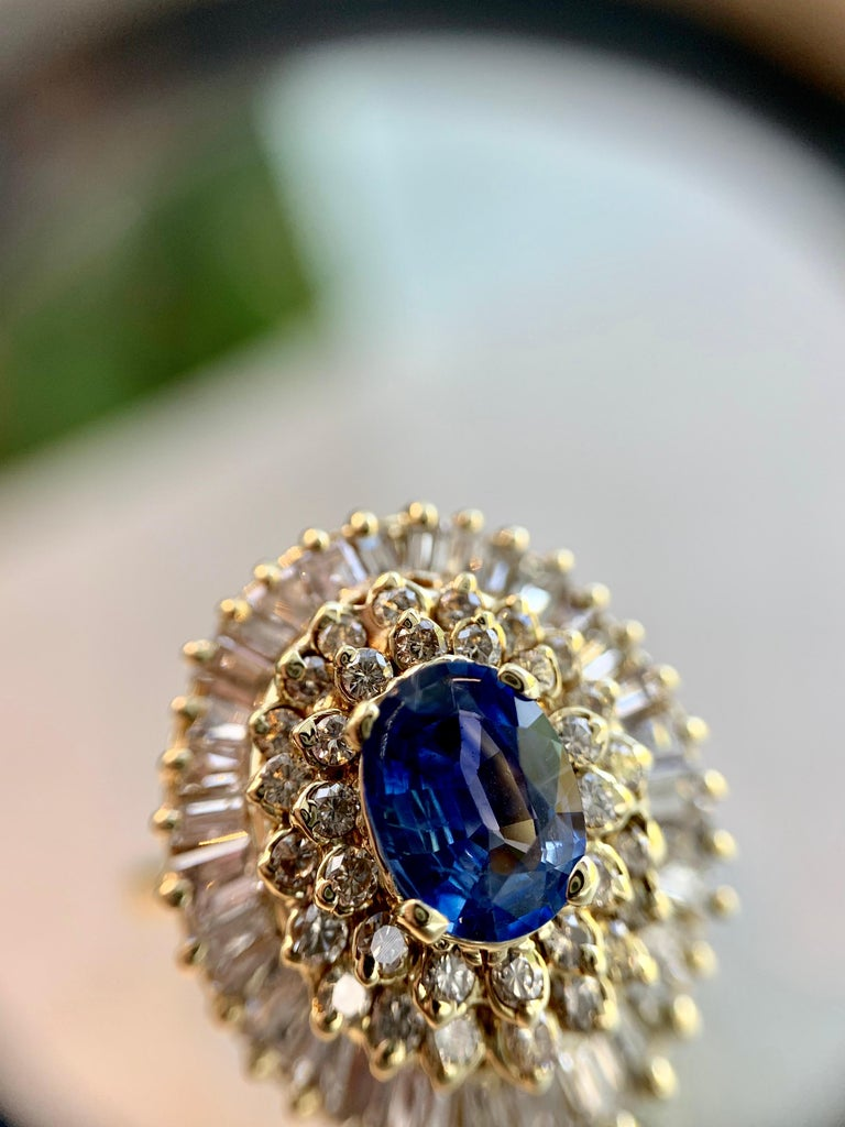 Yellow Gold Blue Sapphire and Diamond Cocktail Ring For Sale 8