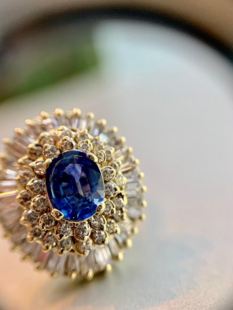 Yellow Gold Blue Sapphire and Diamond Cocktail Ring For Sale 9