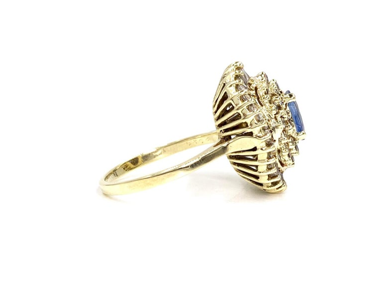 Retro Yellow Gold Blue Sapphire and Diamond Cocktail Ring For Sale