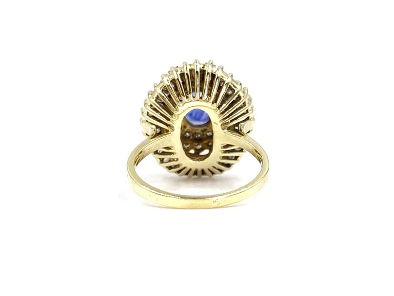 Yellow Gold Blue Sapphire and Diamond Cocktail Ring In Good Condition For Sale In Pikesville, MD