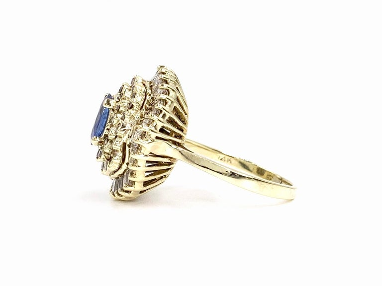 Women's Yellow Gold Blue Sapphire and Diamond Cocktail Ring For Sale