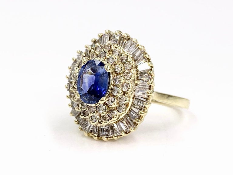 Yellow Gold Blue Sapphire and Diamond Cocktail Ring For Sale 1
