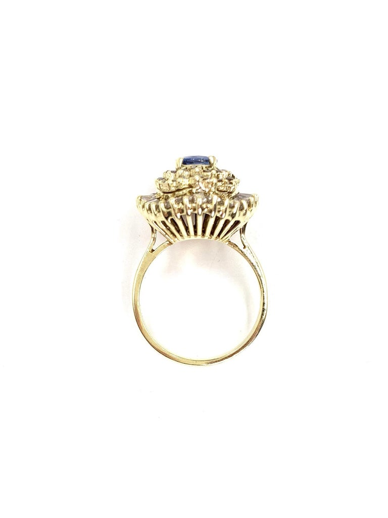 Yellow Gold Blue Sapphire and Diamond Cocktail Ring For Sale 2