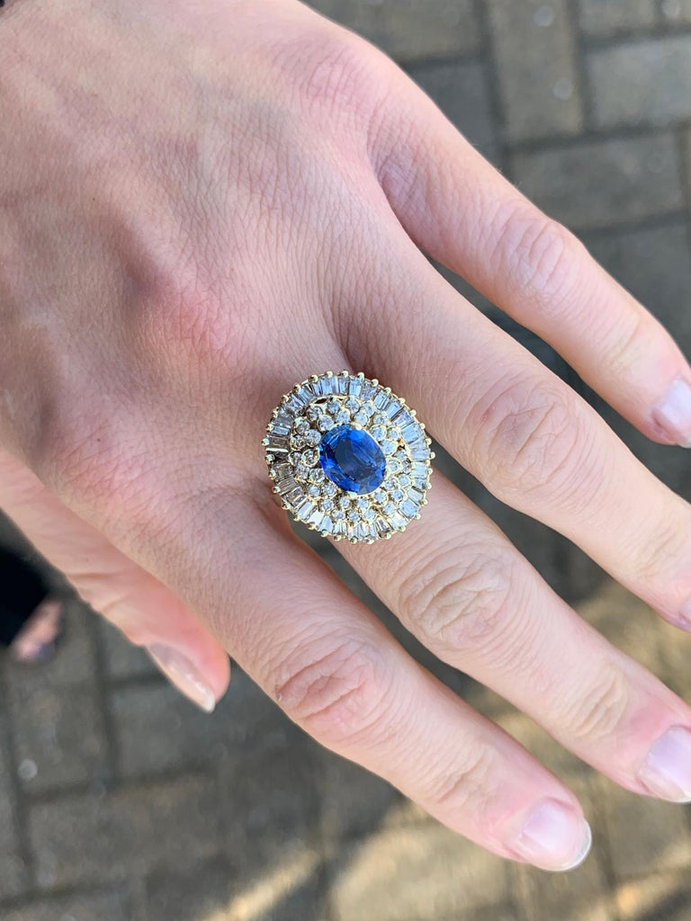 Yellow Gold Blue Sapphire and Diamond Cocktail Ring For Sale 3