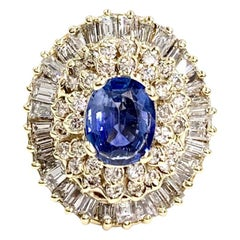 Yellow Gold Blue Sapphire and Diamond Cocktail Ring