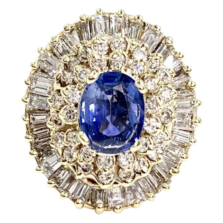 Yellow Gold Blue Sapphire and Diamond Cocktail Ring For Sale