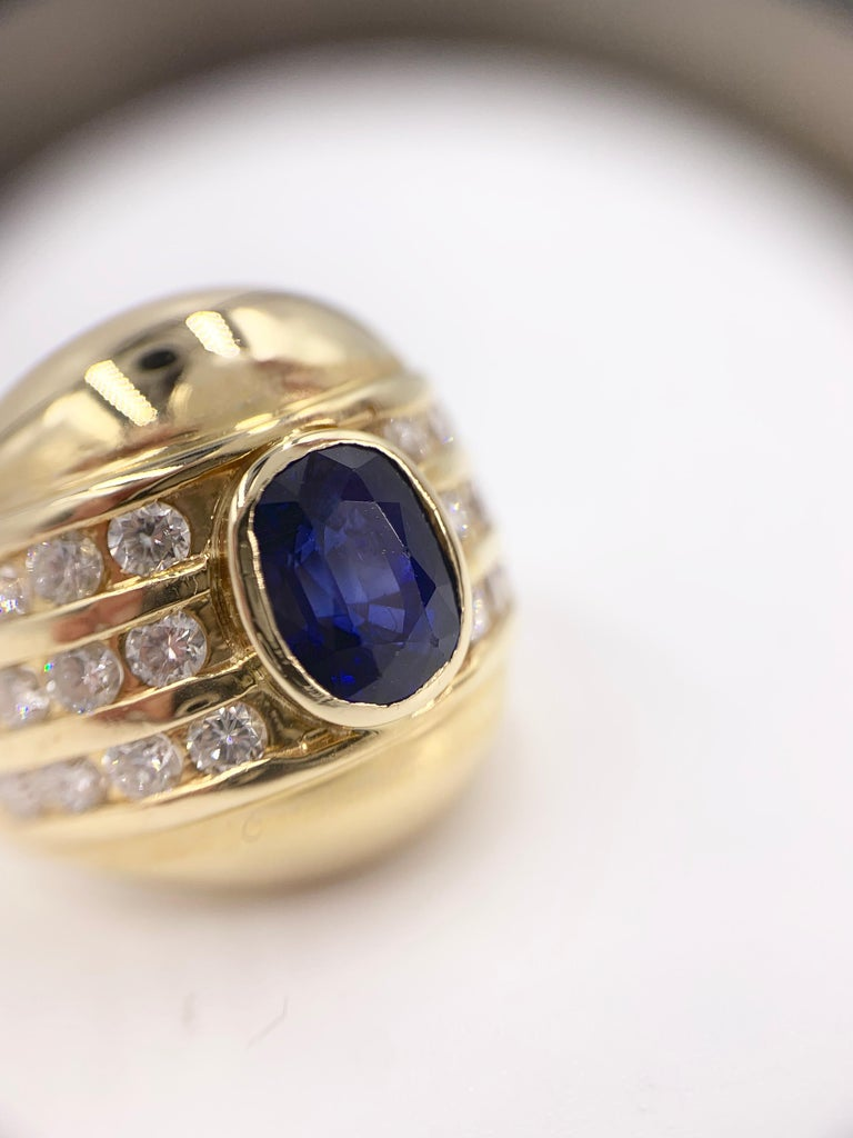 Yellow Gold Blue Sapphire and Diamond Wide Ring 4