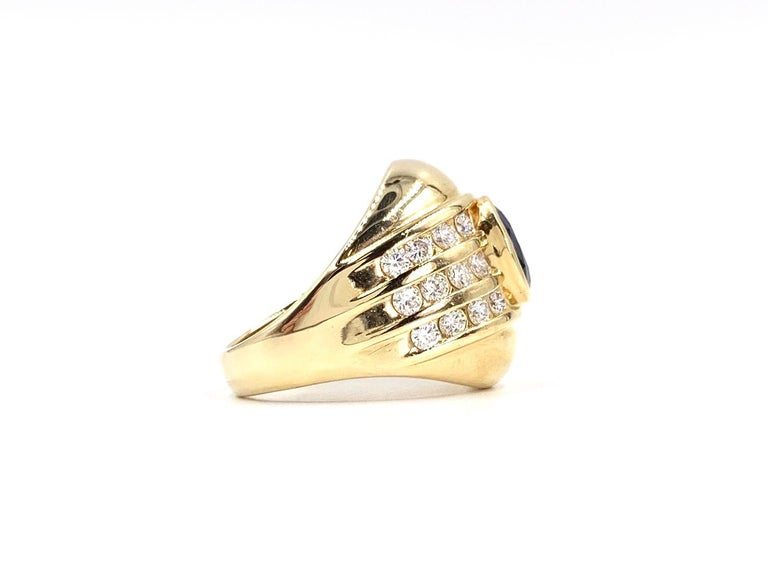 Modern Yellow Gold Blue Sapphire and Diamond Wide Ring