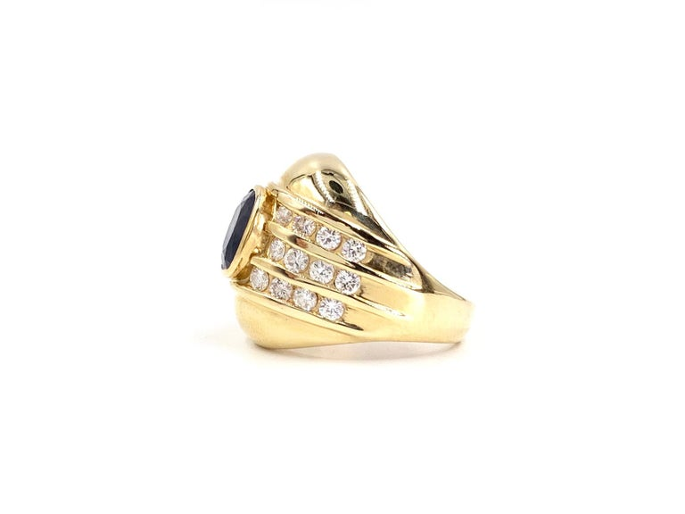 Yellow Gold Blue Sapphire and Diamond Wide Ring In Good Condition In Pikesville, MD