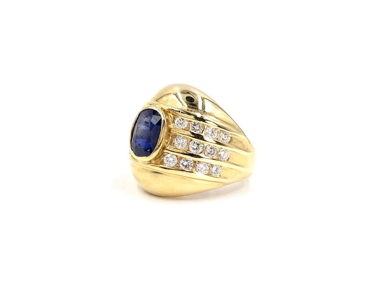 Women's Yellow Gold Blue Sapphire and Diamond Wide Ring