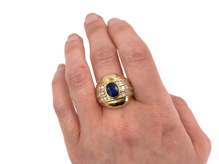 Yellow Gold Blue Sapphire and Diamond Wide Ring 2