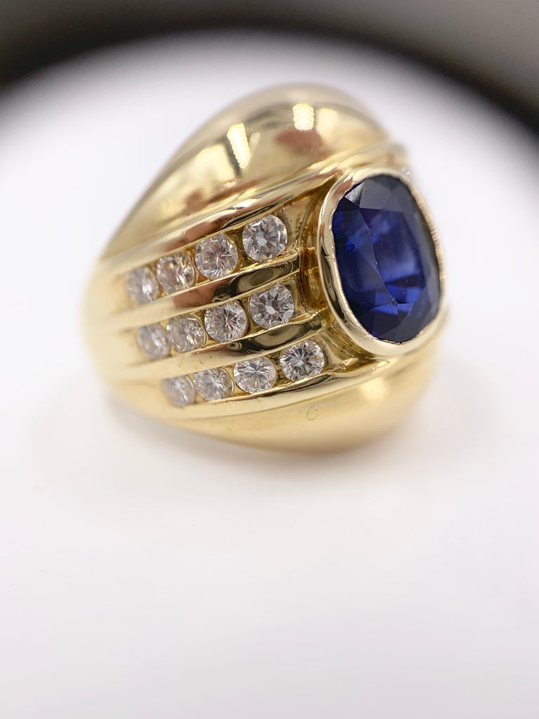 Yellow Gold Blue Sapphire and Diamond Wide Ring 3