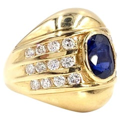 Yellow Gold Blue Sapphire and Diamond Wide Ring
