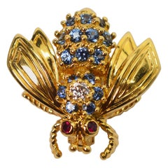 Yellow Gold Blue Sapphire Diamond Tiffany & Co. Bee Pin Brooch