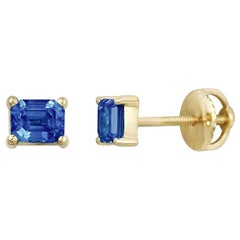 Yellow Gold Blue Sapphire Square Stud Earrings