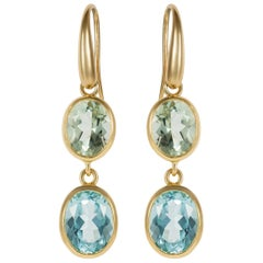 Yellow Gold Blue Topaz and Green Amethyst Double Drop Earrings