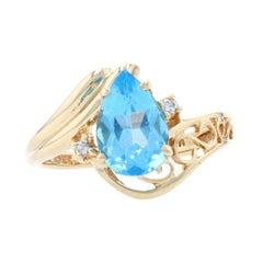Yellow Gold Blue Topaz & Diamond Bypass Ring - 14k Pear Cut 2.12ctw