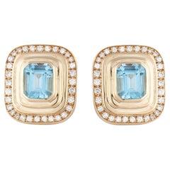Yellow Gold Blue Topaz Diamond Earrings