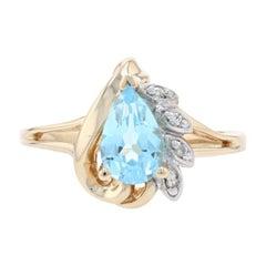 Yellow Gold Blue Topaz & Diamond Ring, 10k Pear Cut 1.13ctw