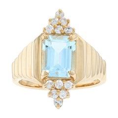 Yellow Gold Blue Topaz & Diamond Ring, 14k Emerald Cut 3.00ctw