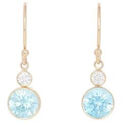 Yellow Gold Blue Zircon & Diamond Earrings, 14k Round 3.32 Carat Custom Dangles