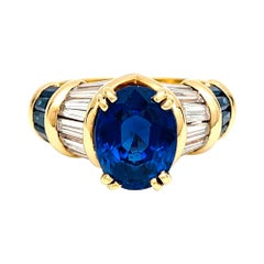 Yellow Gold Boucheron Sapphires and Diamonds Ring
