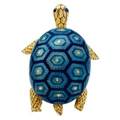 Yellow Gold Boucheron Turtle Brooch, Enamel and Sapphires