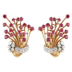 Yellow Gold Bouquet Clip-On Earrings