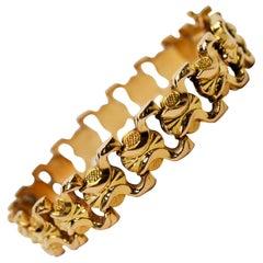 Bow Tie Link 18 Karat Yellow Gold Brevet Bracelet
